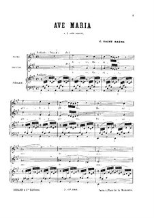 Ave Maria for Two Voices and Organ: Ave Maria for Two Voices and Organ by Camille Saint-Saëns