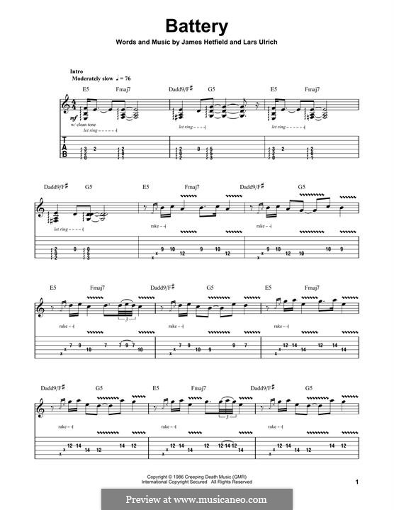 Battery (Metallica): For guitar with tab by James Hetfield, Lars Ulrich