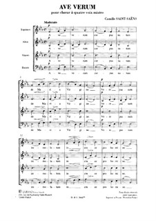 Ave verum in E Flat Major: Vocal score by Camille Saint-Saëns