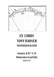 Sonata No.33 in B Minor, K.87 L.33 P.43: For guitar by Domenico Scarlatti