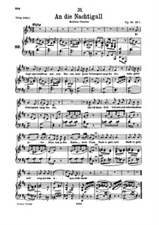 An die Nachtigall (To the Nightingale), D.497 Op.98 No.1: For voice and piano by Franz Schubert