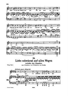 Claudine von Villa Bella, D.239: No.6 Arietta der claudine 'Liebe Schwärmt aud allen Wegen' by Franz Schubert