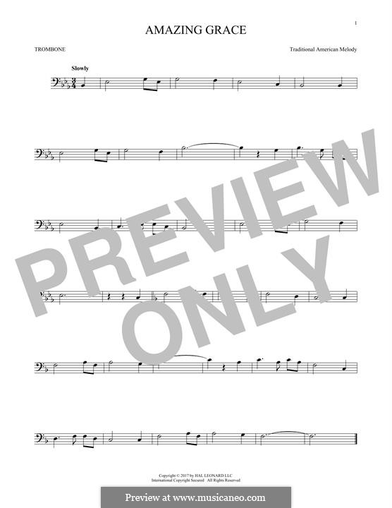 Amazing Grace (Printable Scores): For trombone by folklore