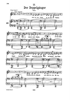 No.13 Der Doppelgänger (The Double): For voice and piano by Franz Schubert