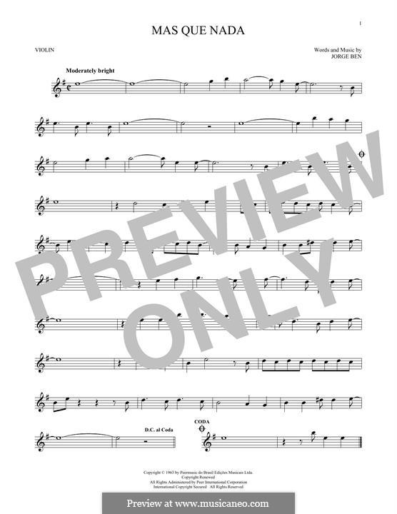 Mas Que Nada (Say No More): For violin by Jorge Ben