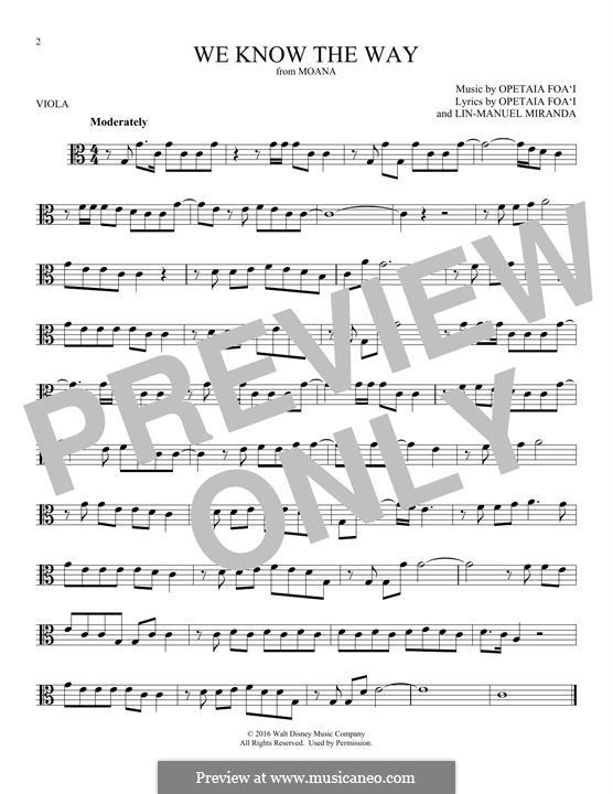 We Know the Way (from Moana): For viola by Lin-Manuel Miranda, Mark Mancina, Opetaia Foa'i