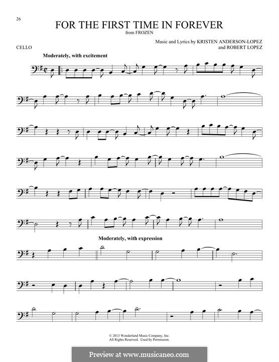 For the First Time in Forever (Kristen Bell & Idina Menzel): For cello by Robert Lopez, Kristen Anderson-Lopez