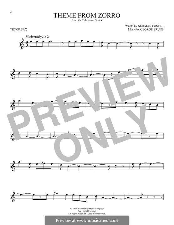 Theme from Zorro: For tenor saxophone by George Bruns
