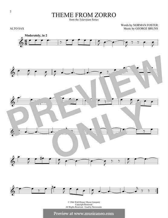 Theme from Zorro: For alto saxophone by George Bruns