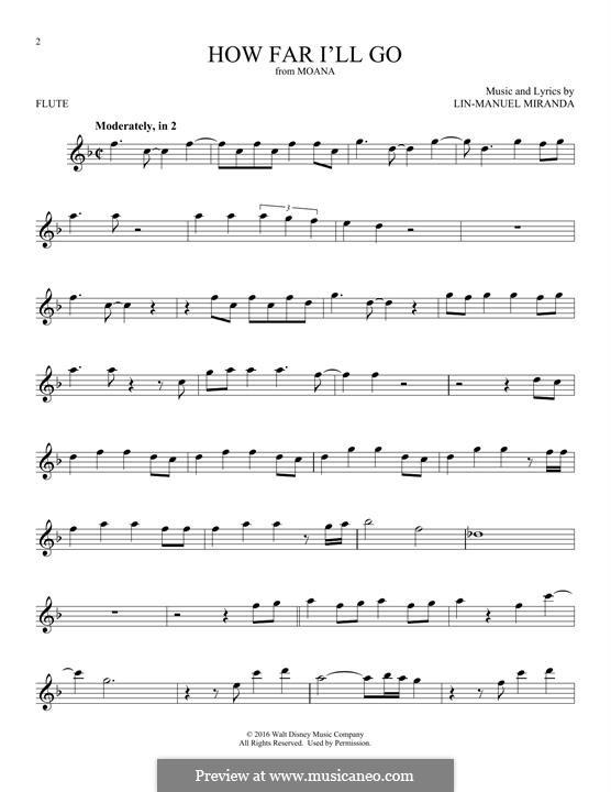 How Far I'll Go (Alessia Cara): For flute by Lin-Manuel Miranda