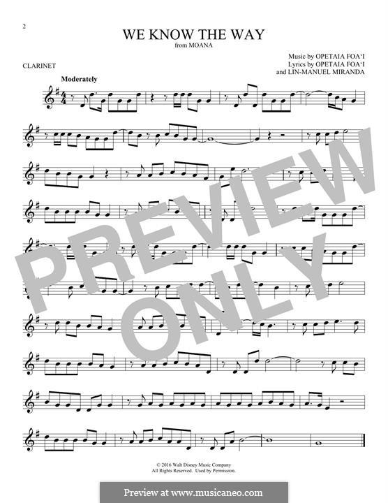 We Know the Way (from Moana): For clarinet by Lin-Manuel Miranda, Mark Mancina, Opetaia Foa'i