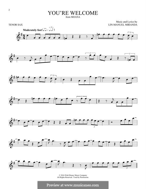 You're Welcome (from Moana): For tenor saxophone by Lin-Manuel Miranda
