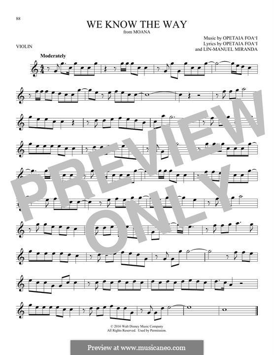 We Know the Way (from Moana): For violin by Lin-Manuel Miranda, Mark Mancina, Opetaia Foa'i