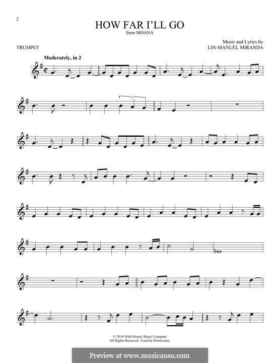 How Far I'll Go (Alessia Cara): For trumpet by Lin-Manuel Miranda