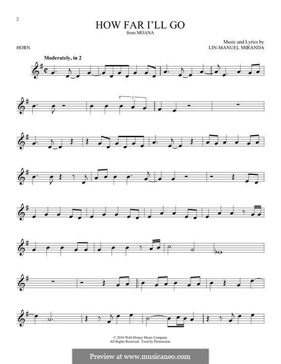 How Far I'll Go (Alessia Cara): For horn by Lin-Manuel Miranda