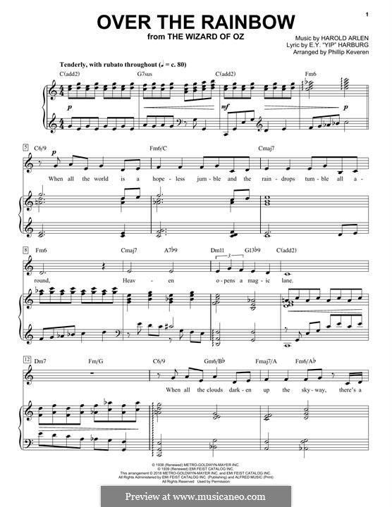 Over the Rainbow (from The Wizard of Oz): For voice and piano by Harold Arlen