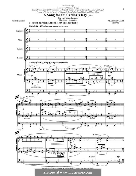A Song for St. Cecilia's Day: For mixed choir by William Bolcom