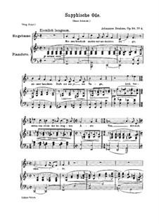 Five Songs, Op.94: No.4 Sapphic Ode by Johannes Brahms