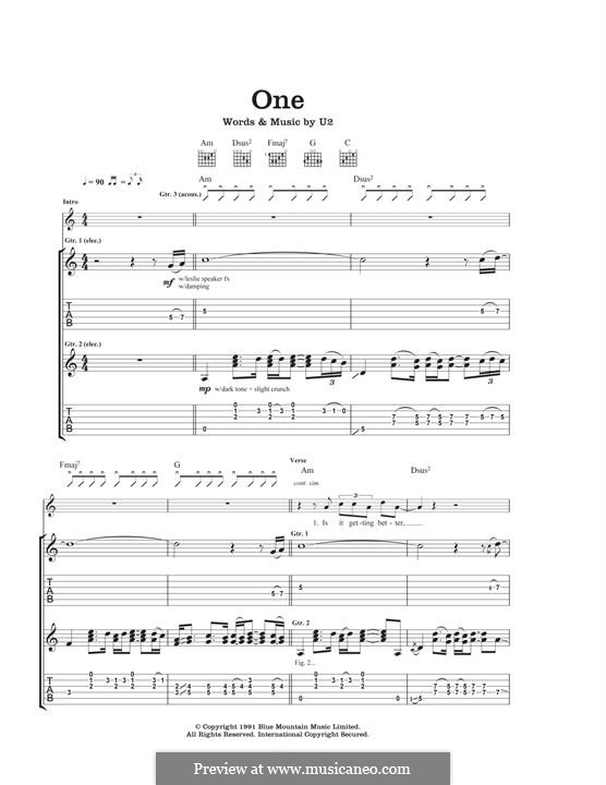 One: For guitar with tab by U2, Adam Clayton, David Evans, Larry Mullen Jr., Paul Hewson