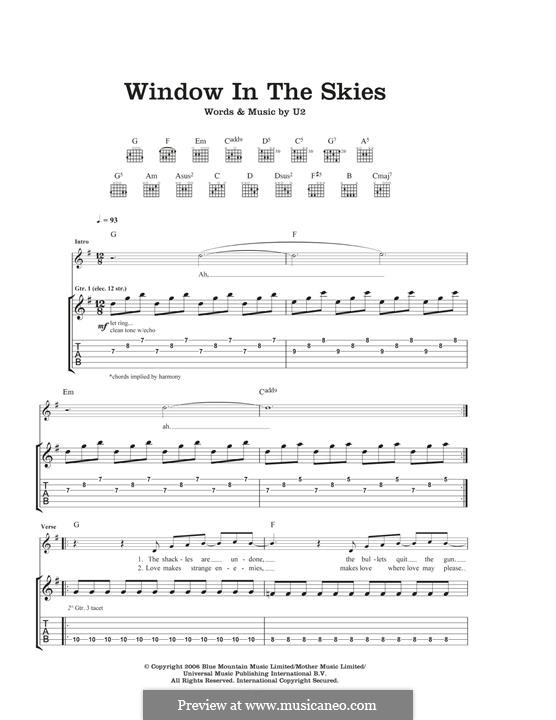 Window in the Skies: For guitar with tab by U2