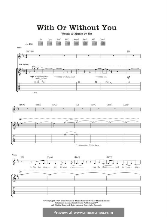 With or without You: For guitar with tab by U2
