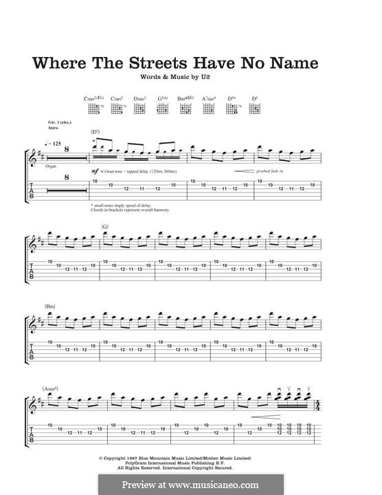 Where the Streets Have no Name: For guitar with tab by U2