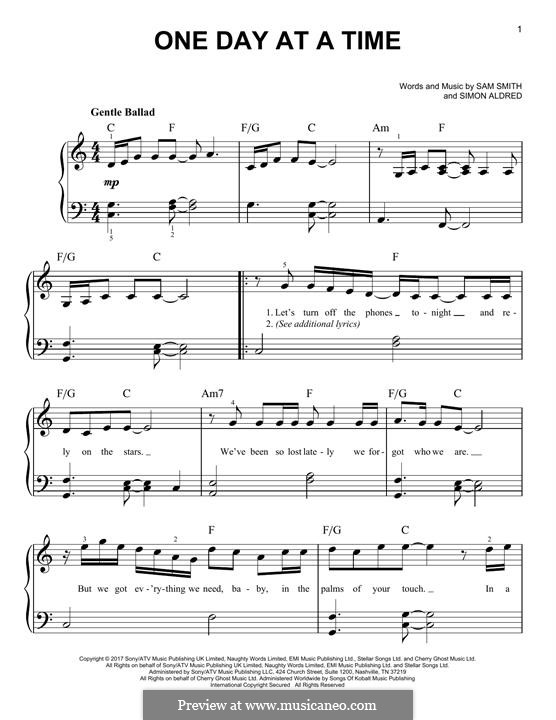 One Day at a Time: For piano by Samuel Smith, Simon Aldred