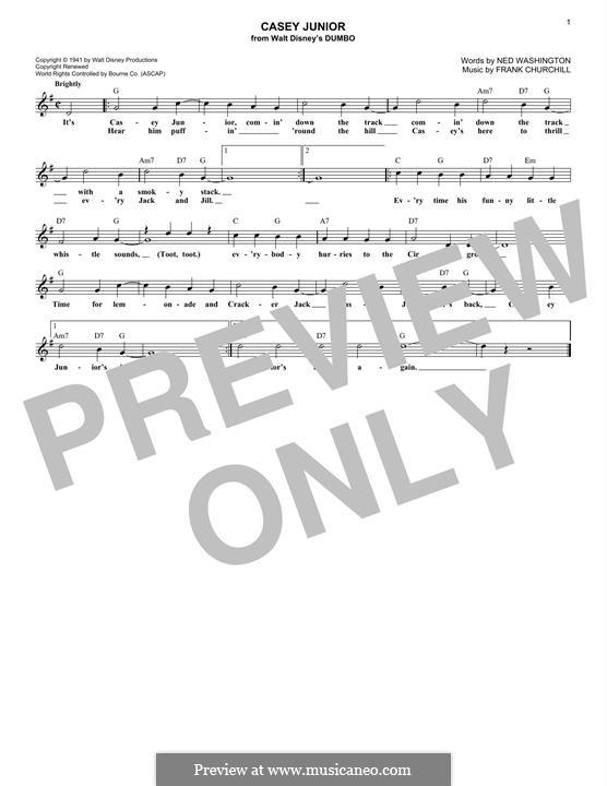Casey Junior: Melody line by Frank Churchill