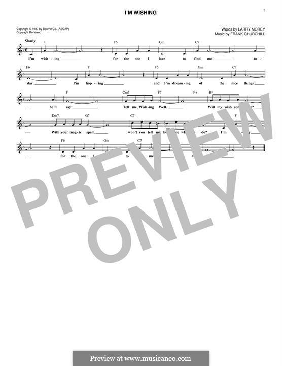 I'm Wishing: Melody line by Frank Churchill