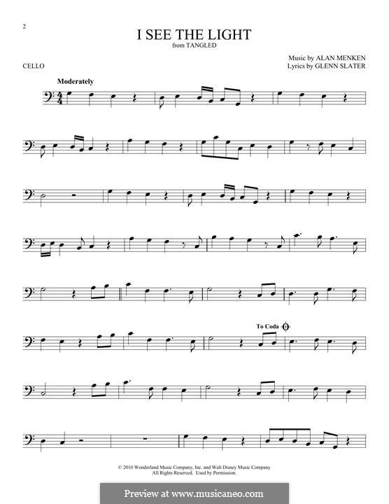 I See the Light: For cello by Alan Menken