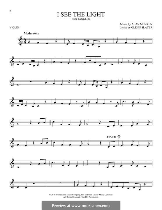 I See the Light: For violin by Alan Menken