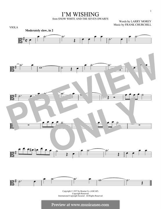 I'm Wishing: For viola by Frank Churchill