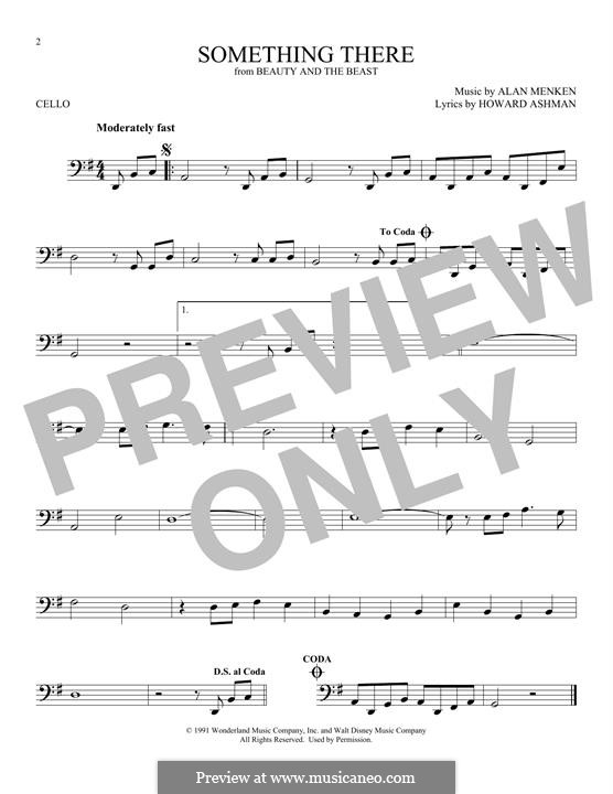 Something There (from Beauty and the Beast): For cello by Alan Menken
