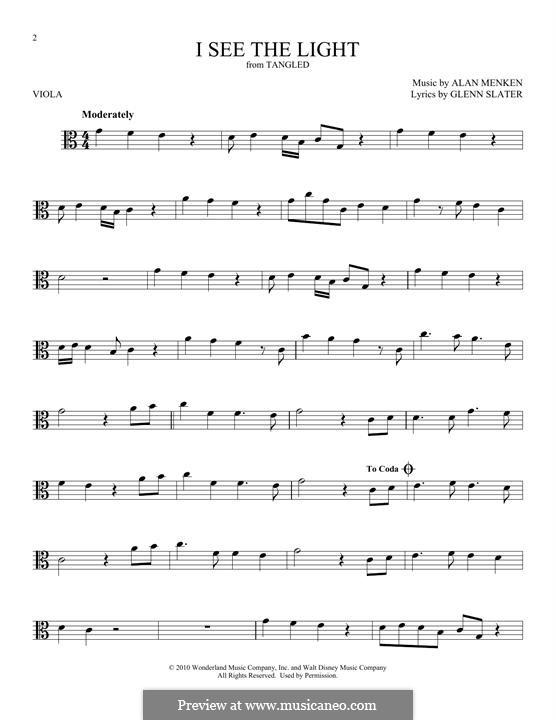 I See the Light: For viola by Alan Menken