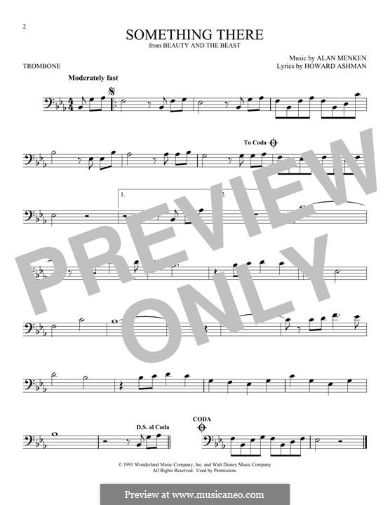 Something There (from Beauty and the Beast): For trombone by Alan Menken