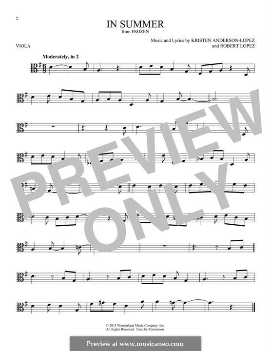 In Summer: For viola by Robert Lopez, Kristen Anderson-Lopez