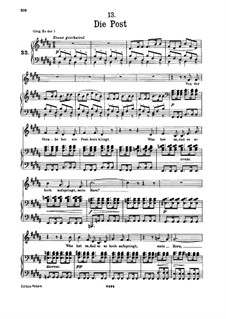 No.13 Die Post (The Post): For low voice and piano by Franz Schubert