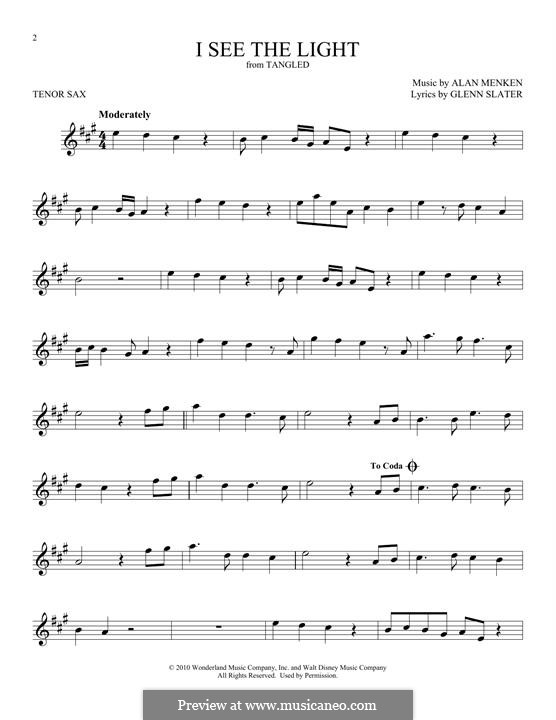 I See the Light: For tenor saxophone by Alan Menken