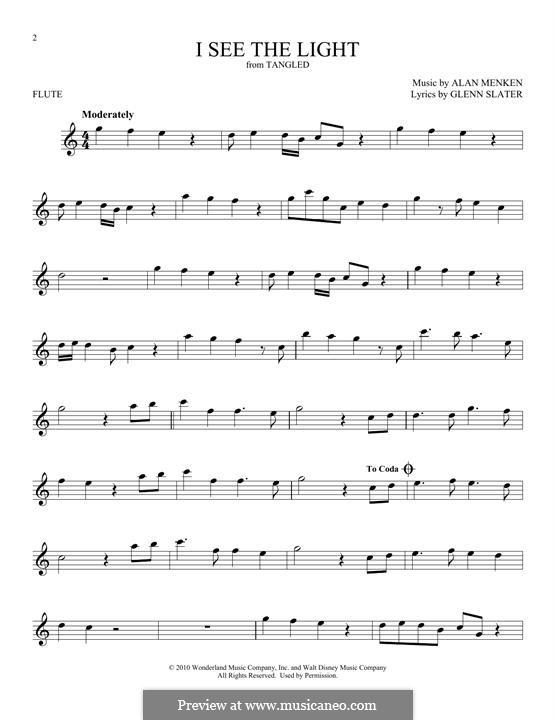 I See the Light: For flute by Alan Menken