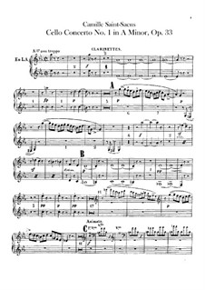 Concerto for Cello and Orchestra No.1 in A Minor, Op.33: Clarinets part by Camille Saint-Saëns