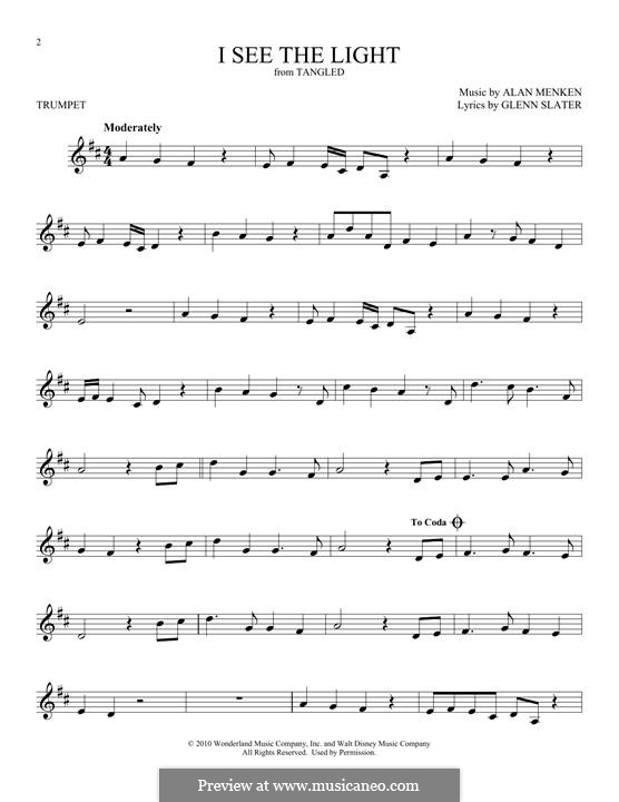 I See the Light: For trumpet by Alan Menken