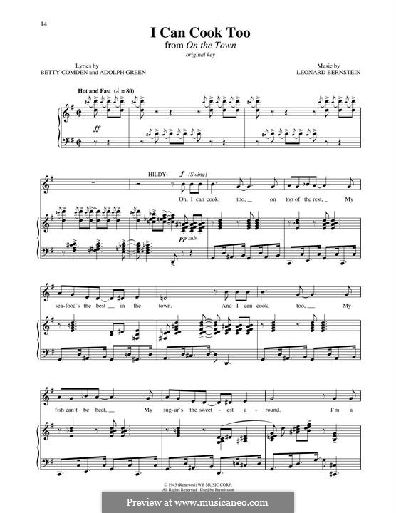 I Can Cook Too: For voice and piano by Leonard Bernstein