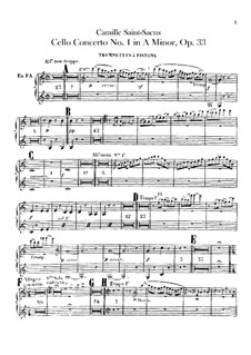 Concerto for Cello and Orchestra No.1 in A Minor, Op.33: Trumpets and сornet part by Camille Saint-Saëns