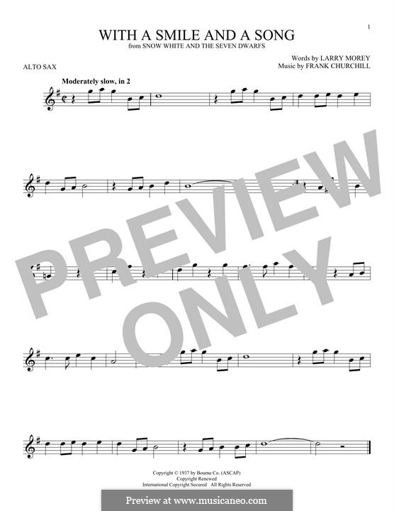 With a Smile and a Song: For alto saxophone by Frank Churchill