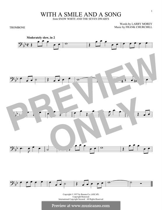 With a Smile and a Song: For trombone by Frank Churchill