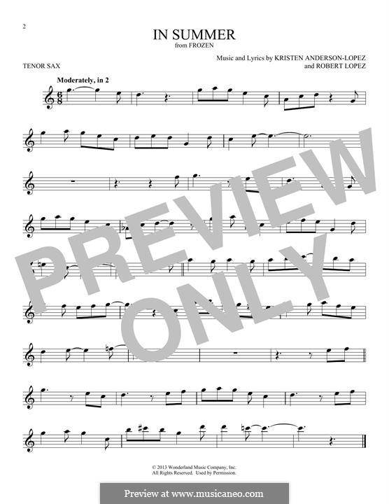 In Summer: For tenor saxophone by Robert Lopez, Kristen Anderson-Lopez