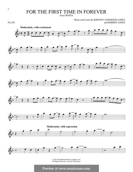 For the First Time in Forever (Kristen Bell & Idina Menzel): For flute by Robert Lopez, Kristen Anderson-Lopez
