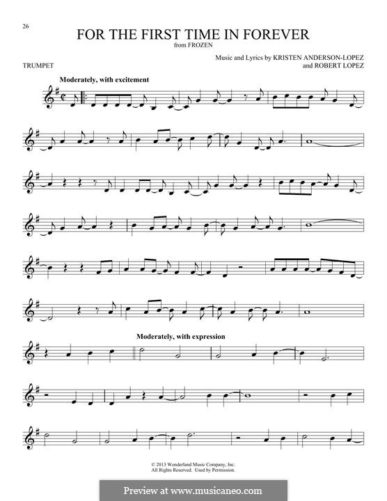 For the First Time in Forever (Kristen Bell & Idina Menzel): For trumpet by Robert Lopez, Kristen Anderson-Lopez