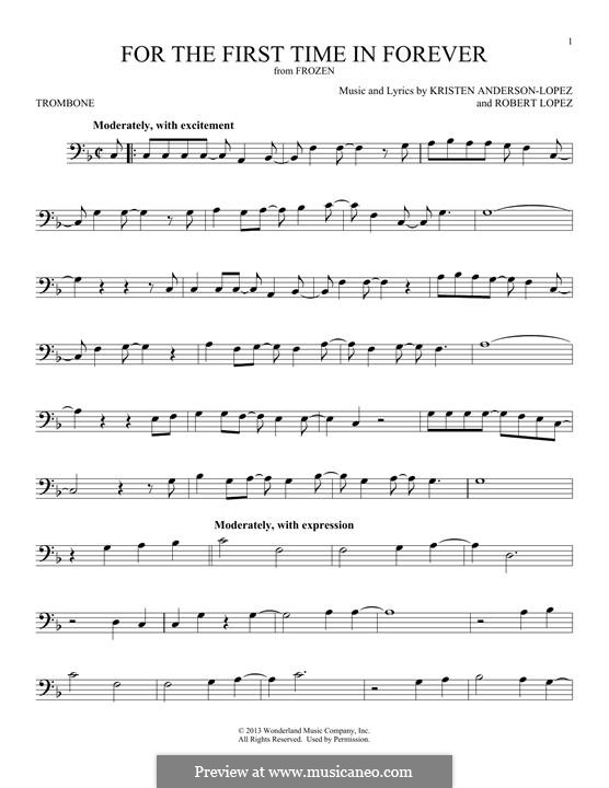 For the First Time in Forever (Kristen Bell & Idina Menzel): For trombone by Robert Lopez, Kristen Anderson-Lopez