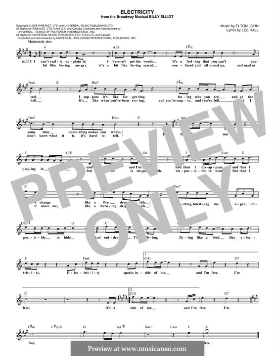 Electricity: Melody line by Elton John